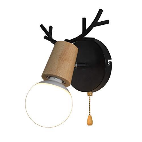 Geweih Wandlampe, Nordische Dekoration Wandlampe Mit Schalter ziehen Surface-mount Wandbeleuchtung E27 Inkl. leuchtmittel Für Schlafzimmer Lving zimmer-Warmes Licht 12w -