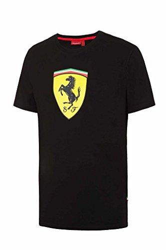 Scuderia Ferrari Herren T-Shirt, klassisch, mit großem Scudetto-Print in Schwarz oder Rot, schwarz