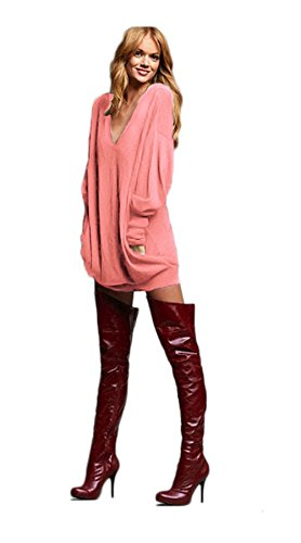 Womens Casual V-cou long irrégulière manches Shirtdress Top vrac Shirt Blouse Rose