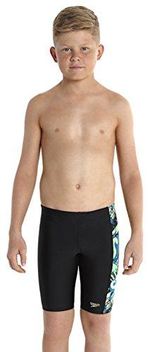 Speedo Jungen Badeanzug Logo Aquashorts mit Einsatz, Schwarz (Speedo Navy/Deep Peri/Siren), Größe 140, 8-09312A77328