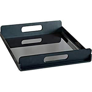 Alessi Vassily 45 cm Rectangular Tray in 18/10 Stainless Steel Mirror Polished with Handles in Black Thermoplastic Resin