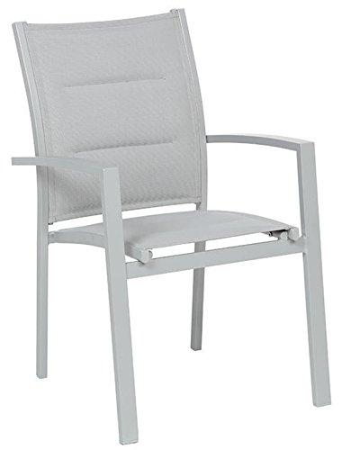 PEGANE Soldes Fauteuil de Jardin en Aluminium Coloris Silver Mat - Dim : L 62 x P 56 x H 90 cm