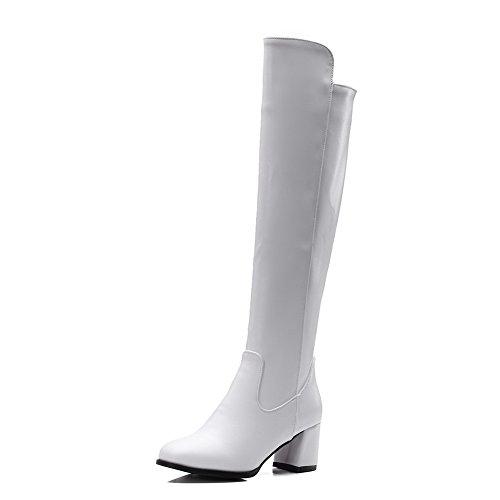 AgooLar Damen Reißverschluss Mittler Absatz Rein Hoch-Spitze Stiefel mit Metallisch Weiß
