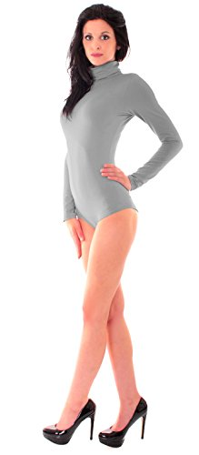 Easy Young Fashion Damen Soft Touch Body mit Rolli Microfaser Funktions Langarm Body Stehkragen Hellgrau