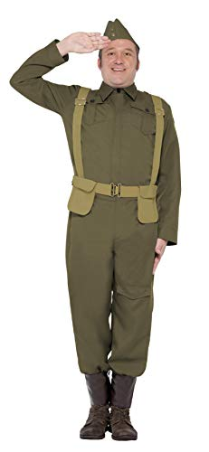 Smiffys, Herren WW2 Bürgerwehr Gefreiter Kostüm, Hose, Gamaschen, Jacke, Mütze und Hosenträgergurt, Größe: L, - Zeitreise Party Kostüm Ideen