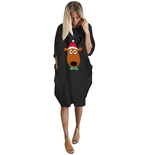 Cartoons Den Kostüm Aus 80's - IZHH Damen Weihnachtskleid Rundhal Large Size Minikleid mit Taschen Weihnachten Elk Cartoon Kostüme Tunika Kleid Freizeit Partykleid Frauen Geschenk(Schwarz 03,S)