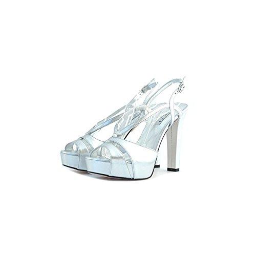 Decolte', sandali gioiello Tiffi, in pelle argento, stupenda lavorazione con swarovski (certificati), cinturino alla caviglia, tacco da 12cm con plateau da 3cm.