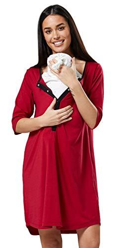Happy mama donna camicia per parto prenatal prémaman allattamento ospedale.539p (cremisi, it 48/50, 2xl)