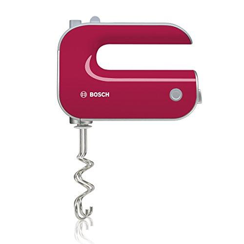 Bosch Styline Red Diamond MFQ40304 - Batidora de repostería, 500 W, 5 velocidades y función Turbo, varillas batidoras y garfios amasadores, color fucsia y gris