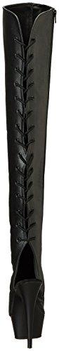 Pleaser Damen Delight-3019 Stiefel Black (Blk Faux Leather/Blk)