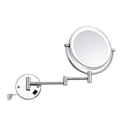 8 zoll wandhalterung eitelkeit kosmetikspiegel vergrößerungs led-leuchten hotel bad rasieren kosmetikspiegel doppelklapp arme wandspiegel,10X -