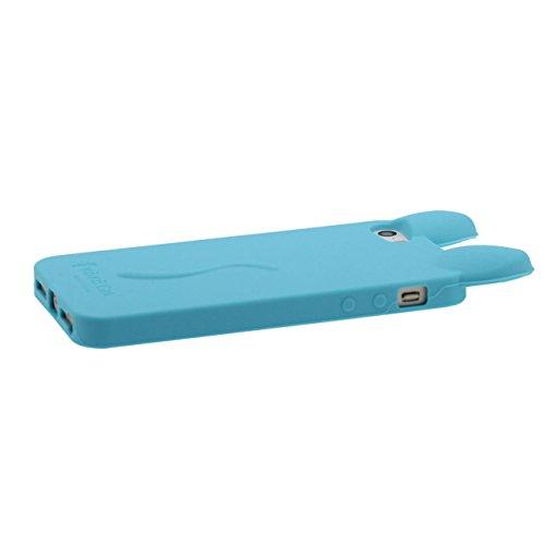 Für iPhone SE iPhone 5S 3D Schön Katze Weich Dünn Slim Silikon Gel TPU Hülle Case Schutzhülle Für Apple iPhone 5 5S SE 5G ( Cyan ) mit 1 Silikon Halter Kickstand blau