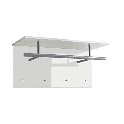FMD Möbel Spot Up Wandgarderobe, Holz, hochglanz weiß, 72 x 29.5 x 35 cm