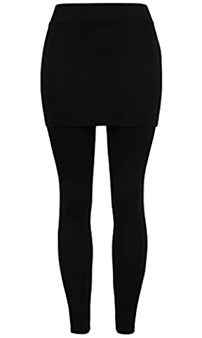 ililily Skirt with Full length Thick Leggings Stretch Winter Skinny