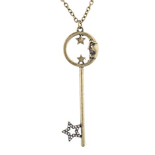 LUX Zubehör Burnish goldfarbenes Celestial Moon Star Schlüssel Anhänger Charm Halskette (Batman Bff Schlüsselanhänger)