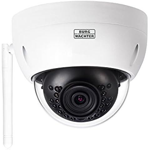 Burg-Wächter Wi-Fi cámara con objetivo fijo, interiores y exteriores, 90grados ángulo de visión, detección de movimiento, 1pieza, color blanco, burgcam Dome 303