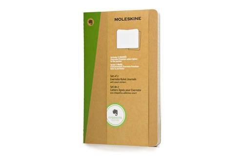 Moleskine Evernote Journal with Smart Stickers, Large, (Set of 2), Ruled, Kraft Brown, Soft Cover (5 x 8.25) by Moleskine (2014) Diary (Journal Evernote Moleskine)
