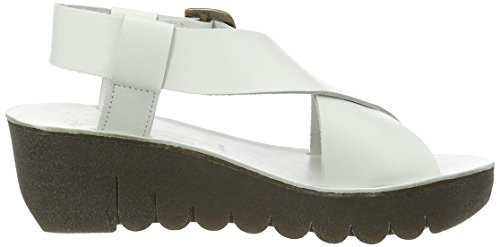 FLY London Yild880, Sandales Bout Ouvert Femme Blanc Cassé (Off White 008)