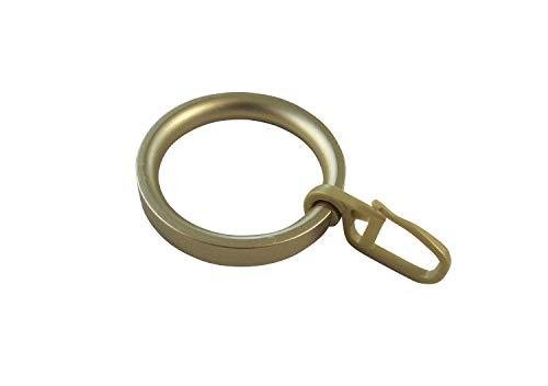 Gardinenringe Vorhangringe Flachringe mit Faltenhaken - Ring Ø 32 x 43 mm für Gardinenstangen Ø 20 mm - Kunststoff messing matt lackiert - 10 Stück