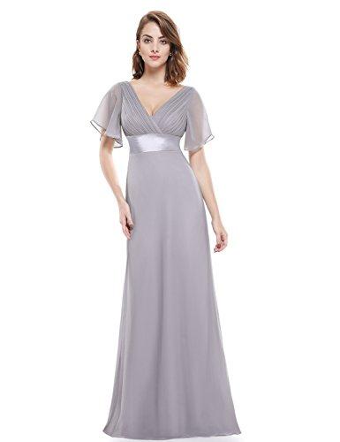 Ever Pretty Damen V-Ausschnitt Lange Abendkleider Festkleider Größe 36 Grau