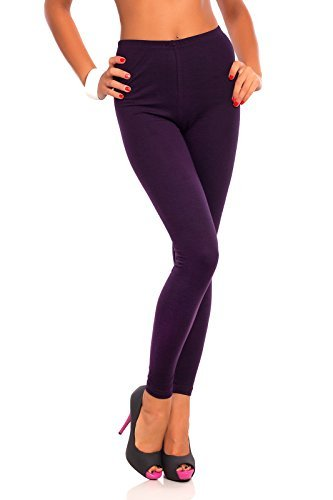 FUTURO FASHION Women's Full Length Cotton Leggings Soft, Plus Sizes Plum 20