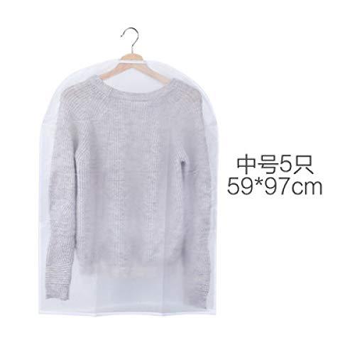 Grea 5 pack lavabile vestiti abbigliamento polvere sacchetto di avvio trasparente cappotto polvere copertura di stoccaggio sacchetto appeso-medio, 59 * 97 cm