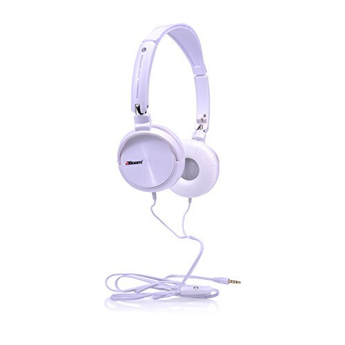 2BOOM Dyna Jam Over Ear Hipster Foldable Stereo Wired Headphone Microphone  Headset White