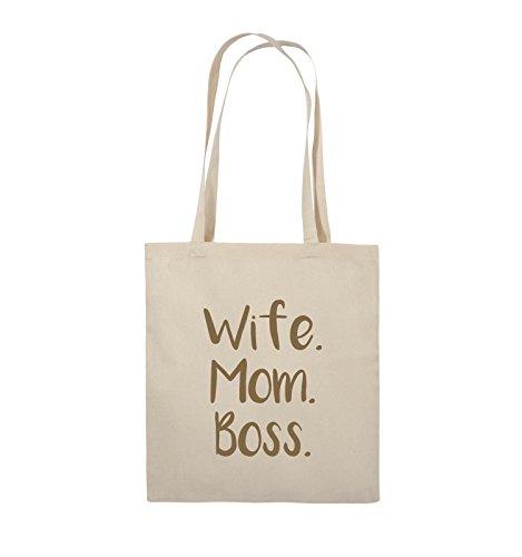 Comedy Bags - Wife Mom Boss - Jutebeutel - lange Henkel - 38x42cm - Farbe: Schwarz / Pink Natural / Hellbraun