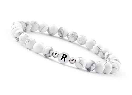 GOOD.designs ® Bracciali perla (Howlite bianco) con iniziale (Per uomo e donna) R Raffaele Raimondo Remo Renato Renzo Romolo Rosario Ruggero Rachele Raffaella Rebecca