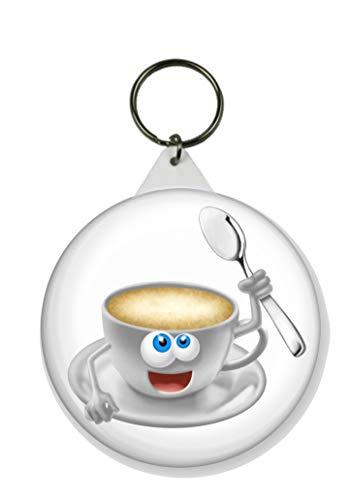 Gifts & Gadgets Co. Schlüsselanhänger Cartoon Kaffeetasse rund 58 mm Durchmesser groß Neuheit