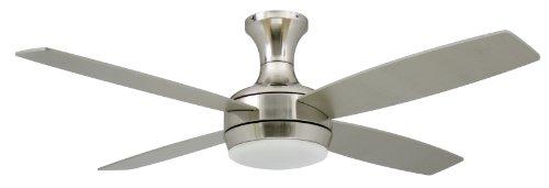 Nickel-deckenventilator Licht (Deckenventilator mit Beleuchtung und Fernbedienung Saturn, Nickel satiniert, Flügel Pinie und Silber, 132 cm)