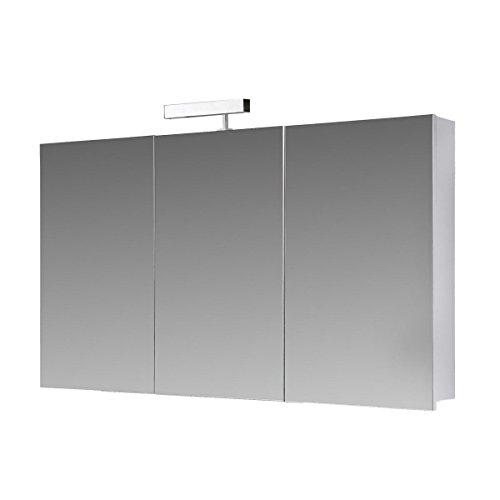 #Eurosan 3-türiger Spiegelschrank, Superflach, Halogenaufsatzleuchte, Breite 100 cm, Weiß, Berlin, B100#