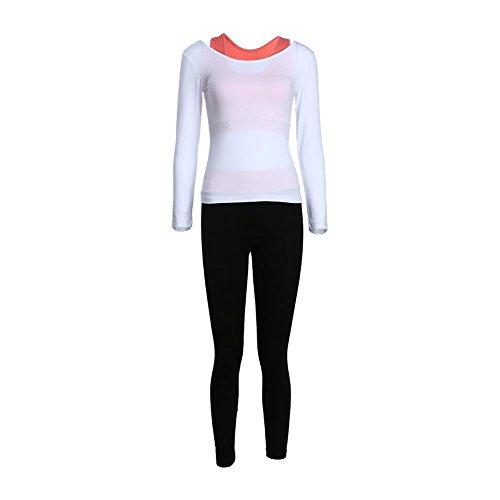 Rrimin 3pcs Women Yoga Set Long Sleeves Top + Sports Vest+Pants(White+Orange/XL)