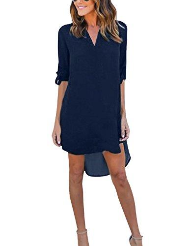 Yidarton Damen Tunika Chiffon Blusen Sommer Oberteile Kleider Casual V-Ausschnitt Dünne Langarm Loose Shirt Longshirt, Dunkelblau - XL