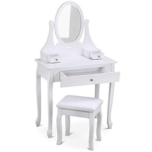 Yaheetech Toletta Specchiera da Trucco Bianco con Specchio Sgabello Cassetti Portagioielli Moderna Bianca da Camera da Letto