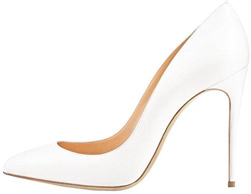 Calaier Femme Cashop 12CM Aiguille Glisser Sur Escarpins Chaussures Blanc