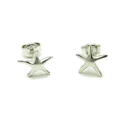 Small sterling silver earrings solid 925 stars