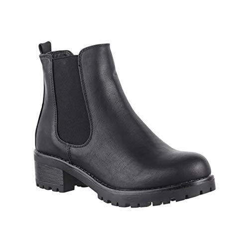 Elara Botines de Mujer Chelsea Boots Chunkyrayan S160 Black-39