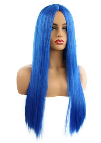 Blau Perücke Kostüm - FEOYA Kunsthaarperücke Damen Lang Perücken Langhaar Glatt 65cm Perücken Blau mit Haarnetz Meerjungfrau Kostüm Damen für Cosplay Fasching 6 farben