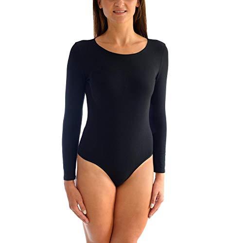 Alkato Damen Langarm Body mit Rundhalsausschnitt, Farbe: Schwarz, Größe: 42