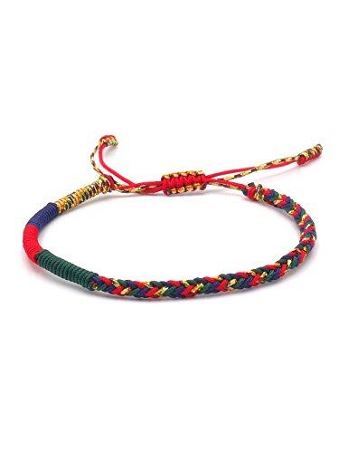 BENAVA Tibetisches Armband für Damen und Herren – Buddhistisches Stoffarmband Geflochten Bunt