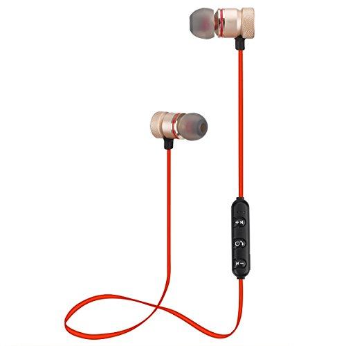 Alfort auricolare bluetooth, cuffie in ear auricolari sport magnetiche con microfono per iphone x / 8/7 / samsung note 8 / s9 / s8 / a5 / huawei p20 / p10 lite e altri dispositivi (oro rosa)