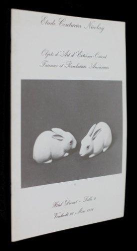 Objets d'Art d'Extrême-Orient, faïences et porcelaines anciennes (vente aux enchères Hôtel Drouot, 30 mars 1984) par Nicolay Raymond de Me Couturier Jean-Paul Me