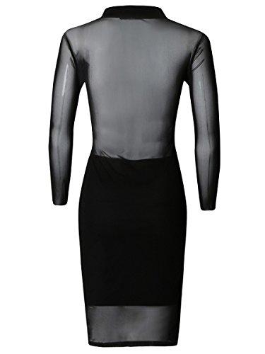 Ladies Flock Mesh haute cou Robe moulante EUR Taille 36-42 Noir