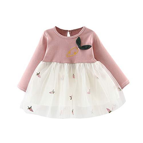 Realde--Baby Mädchen Langarm Mesh Patchwork Mini Kleid Prinzessin Drucken Kleinkind Neugeborenes Kinderkleidung Partykleid Festlich Babybekleidung Abendkleid Kleidung -