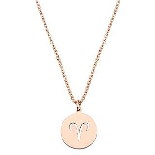 KUIYAI Zodiac Pendant Necklace Rose Gold Disc Horoscope Necklace Birthday Gift (Aries RG)
