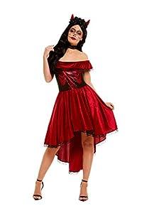 Smiffys 50945L - Disfraz de Día de los Muertos para mujer, talla L, color rojo