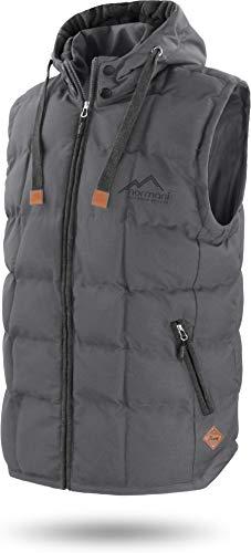 normani Outdoor Sports Wattierte Steppweste Bodywarmer - 100% Winddichte Outdoor Weste mit Lederpatch, Kapuze und Stehkragen Farbe Dunkelgrau Größe 4XL/60