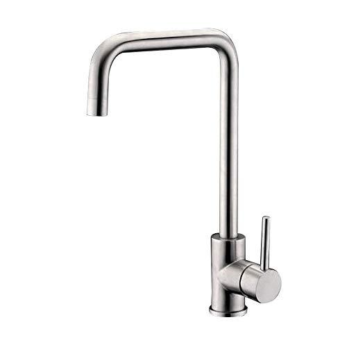 LLLKKK Wasserhahn 304 Edelstahl Moderne Küche Einhebel 360 ° Drehen Warm Und Kalt Doppelwaschbecken Waschbecken Mischventil Wasserhahn, A (Internes Schweißen) -