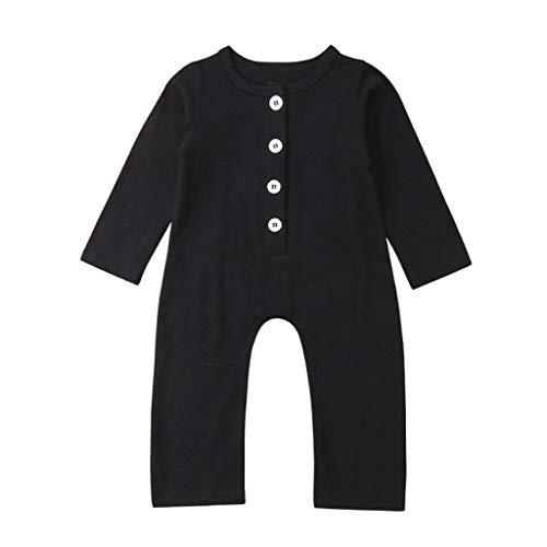 LEXUPE Neugeborenes Baby Jungen Mädchen Solide Faltknopf Homewear Freizeitspielanzug Overall(Schwarz,80)